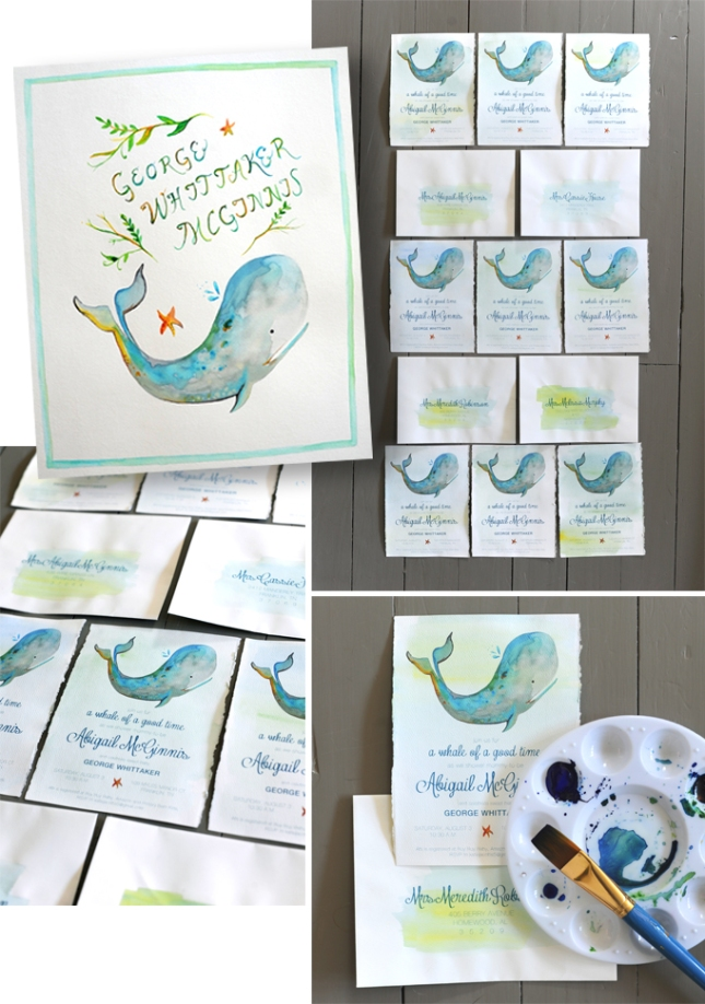 Hand painted watercolored themed invitations.