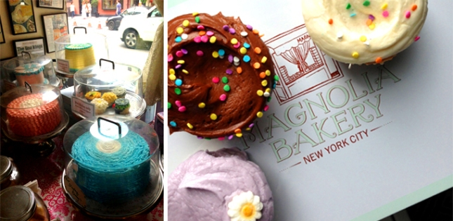 Pictures from our trip to New York City—cakes in the window at Magnolia Bakery and our very own box of cupcakes.