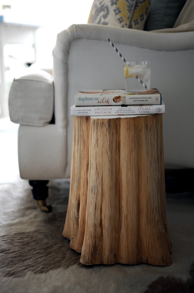 DIY Natural Tree Stump Side Table Styling My Everyday - West elm stump table