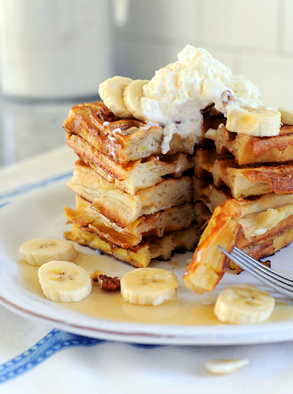 Banana Waffle French Toast with Coconut Whipped Cream ...