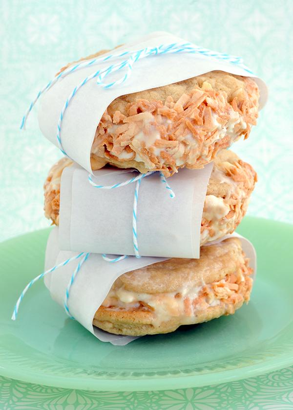 White Chocolate Macadamia Nut Ice Cram Sandwiches