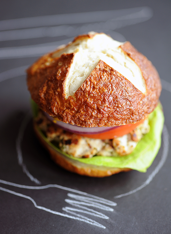 Turkey Burgers on Homemade Pretzel Buns | Styling My Everyday