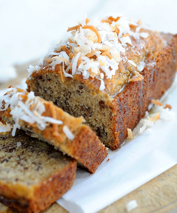 Lemon Coconut Banana Nut Bread with Warm Honey Butter Glaze | Styling ...