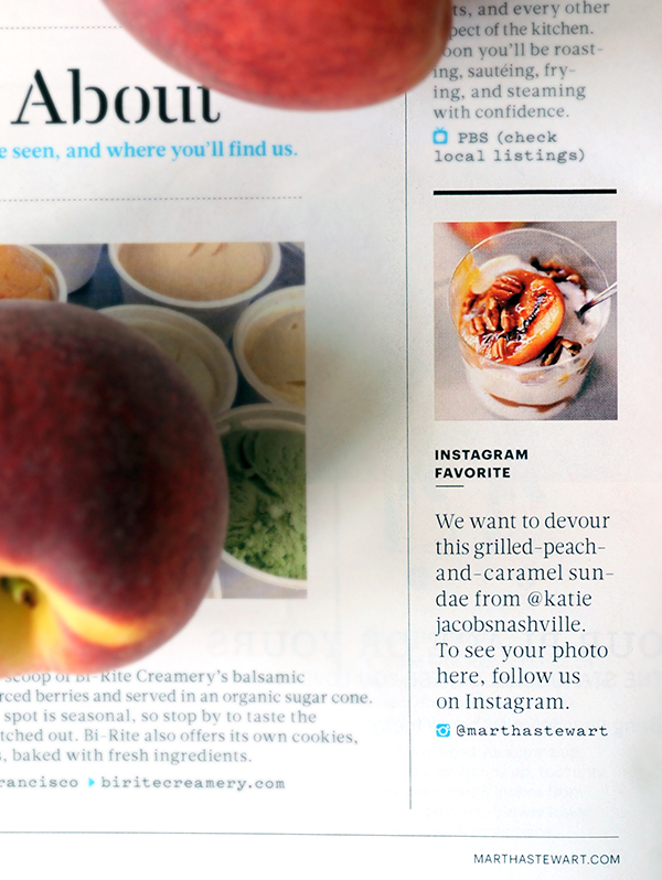 grilled peach sundaes featured in martha stewart living styling my